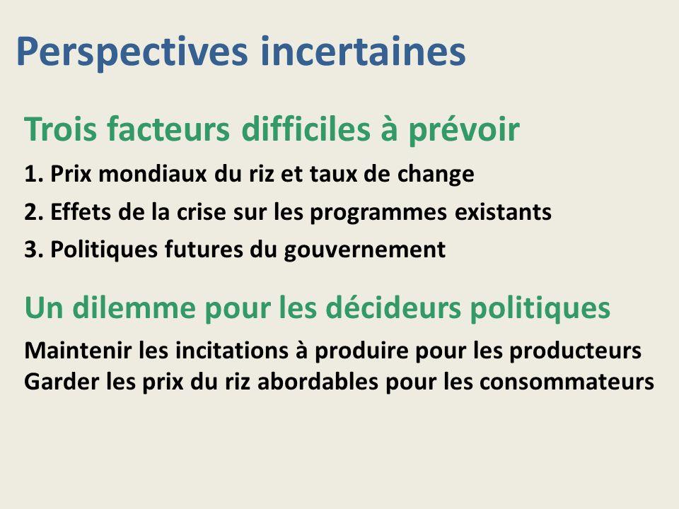 Perspectives incertaines Trois facteurs difficiles à prévoir 1. Prix mondiaux du riz et taux de change 2. Effets de la crise sur les programmes exista