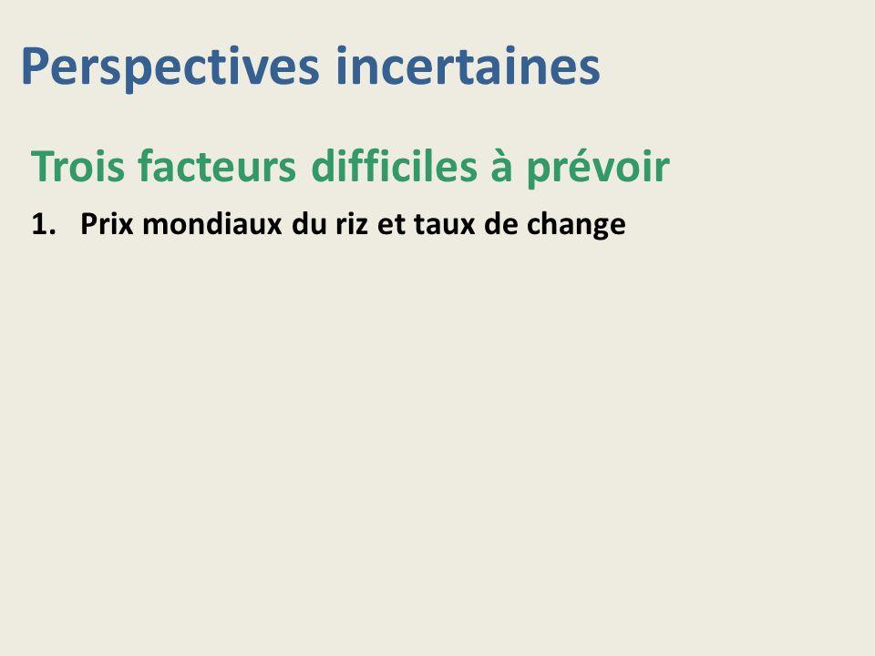 Perspectives incertaines Trois facteurs difficiles à prévoir 1.Prix mondiaux du riz et taux de change