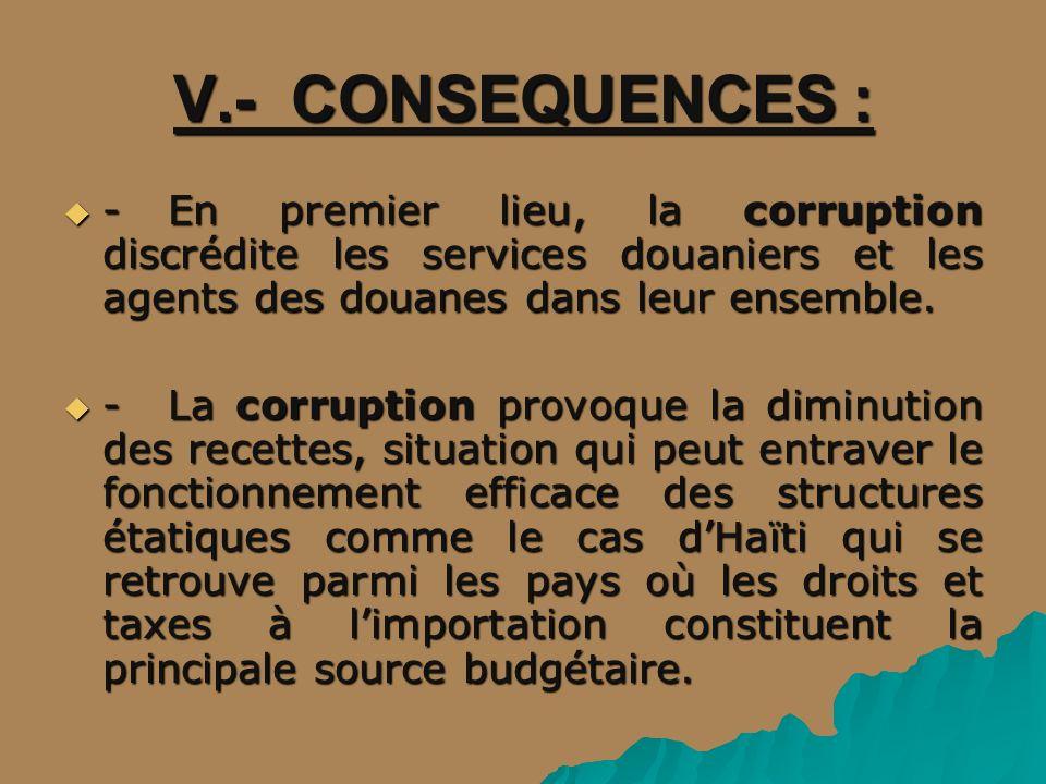 V.- CONSEQUENCES : -En premier lieu, la corruption discrédite les services douaniers et les agents des douanes dans leur ensemble. -En premier lieu, l