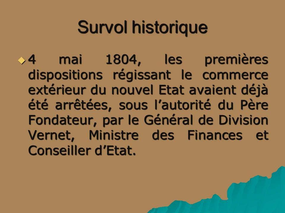 Survol historique 4 mai 1804, les premières dispositions régissant le commerce extérieur du nouvel Etat avaient déjà été arrêtées, sous lautorité du P