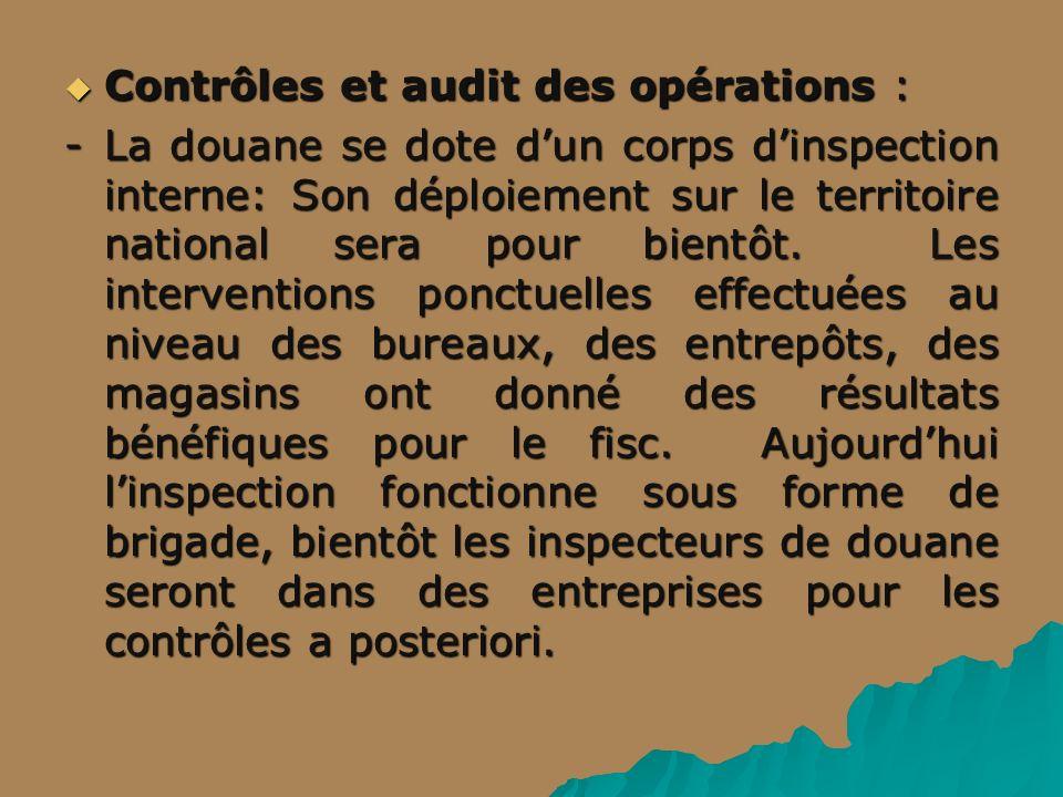 Contrôles et audit des opérations : Contrôles et audit des opérations : -La douane se dote dun corps dinspection interne: Son déploiement sur le territoire national sera pour bientôt.