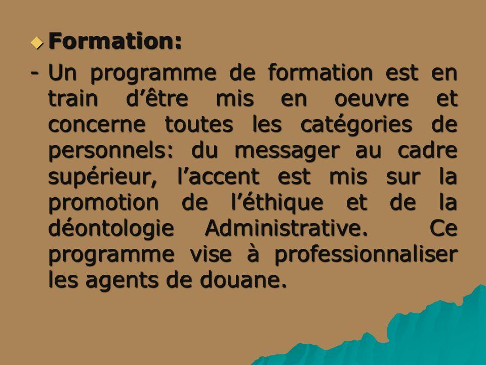 Formation: Formation: -Un programme de formation est en train dêtre mis en oeuvre et concerne toutes les catégories de personnels: du messager au cadre supérieur, laccent est mis sur la promotion de léthique et de la déontologie Administrative.