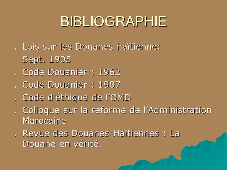 BIBLIOGRAPHIE.Lois sur les Douanes haïtienne: Sept. 1905.Code Douanier : 1962.Code Douanier : 1987. Code déthique de lOMD.Colloque sur la reforme de l