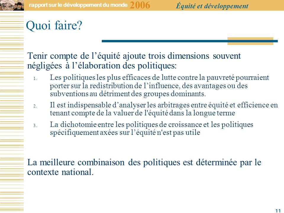 2006 rapport sur le développement du monde Équité et développement 11 Quoi faire.