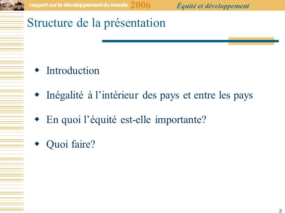 2006 rapport sur le développement du monde Équité et développement 2 Structure de la présentation Introduction Inégalité à lintérieur des pays et entre les pays En quoi léquité est-elle importante.