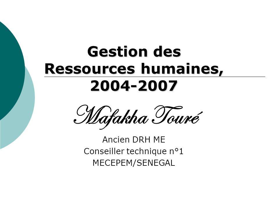 Gestion des Ressources humaines, 2004-2007 Mafakha Touré Ancien DRH ME Conseiller technique n°1 MECEPEM/SENEGAL