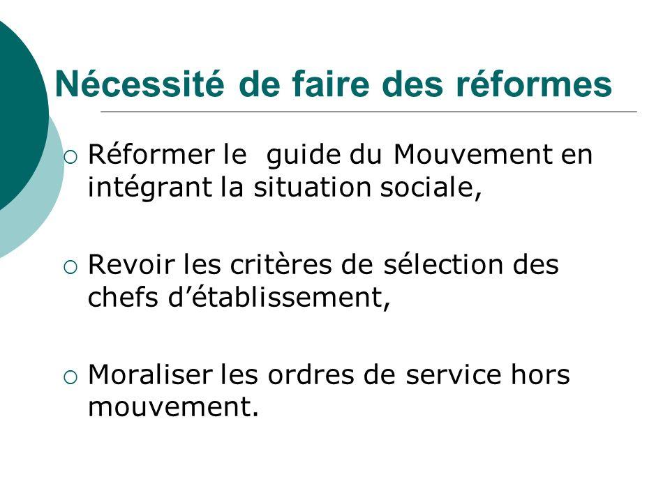 Nécessité de faire des réformes Réformer le guide du Mouvement en intégrant la situation sociale, Revoir les critères de sélection des chefs détablissement, Moraliser les ordres de service hors mouvement.