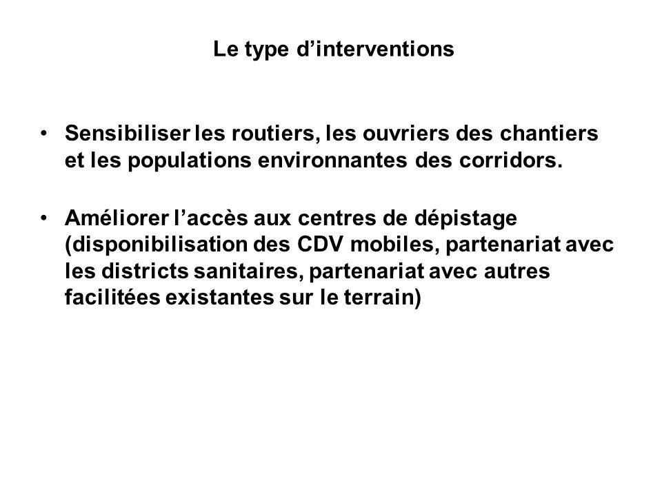 Le type dinterventions Sensibiliser les routiers, les ouvriers des chantiers et les populations environnantes des corridors.