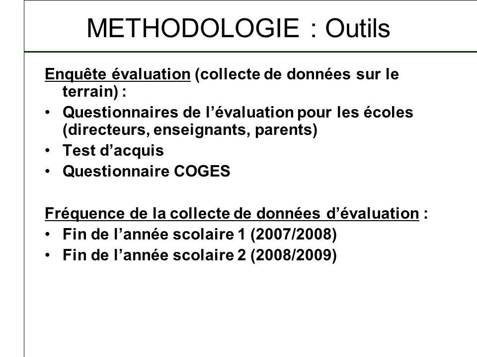 METHODOLOGIE : Outils Enquête évaluation (collecte de données sur le terrain) : Questionnaires de lévaluation pour les écoles (directeurs, enseignants