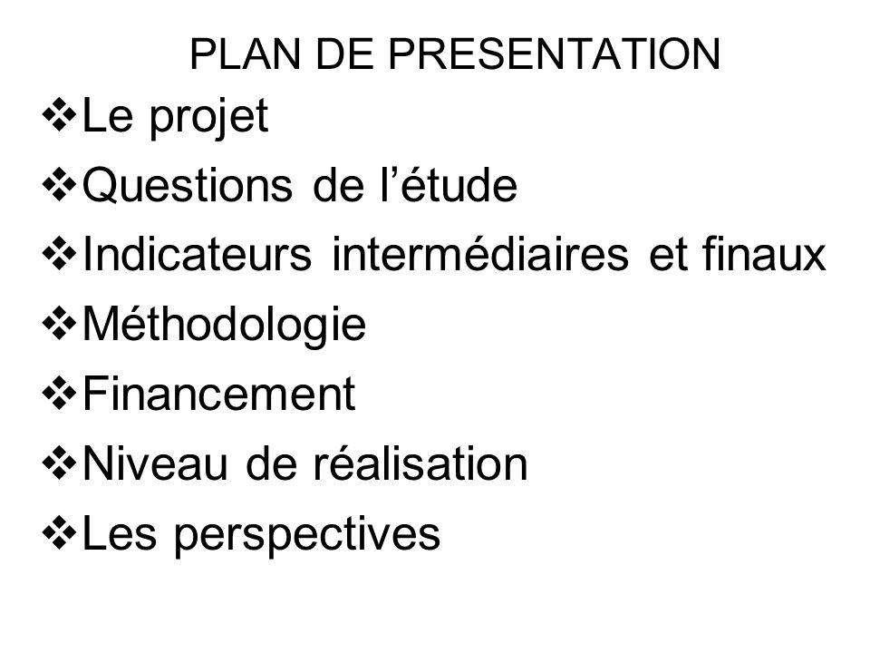 PLAN DE PRESENTATION Le projet Questions de létude Indicateurs intermédiaires et finaux Méthodologie Financement Niveau de réalisation Les perspective