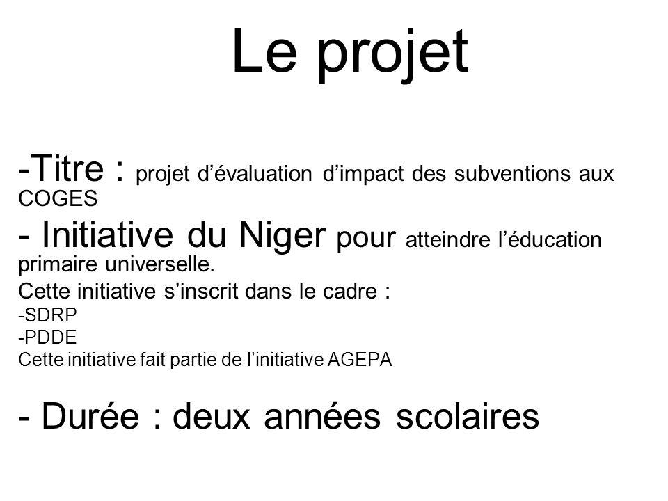 Le projet -Titre : projet dévaluation dimpact des subventions aux COGES - Initiative du Niger pour atteindre léducation primaire universelle. Cette in