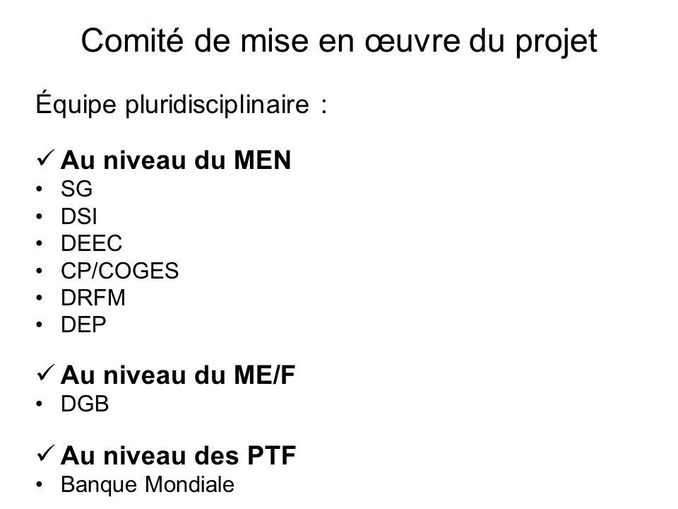 Comité de mise en œuvre du projet Équipe pluridisciplinaire : Au niveau du MEN SG DSI DEEC CP/COGES DRFM DEP Au niveau du ME/F DGB Au niveau des PTF B