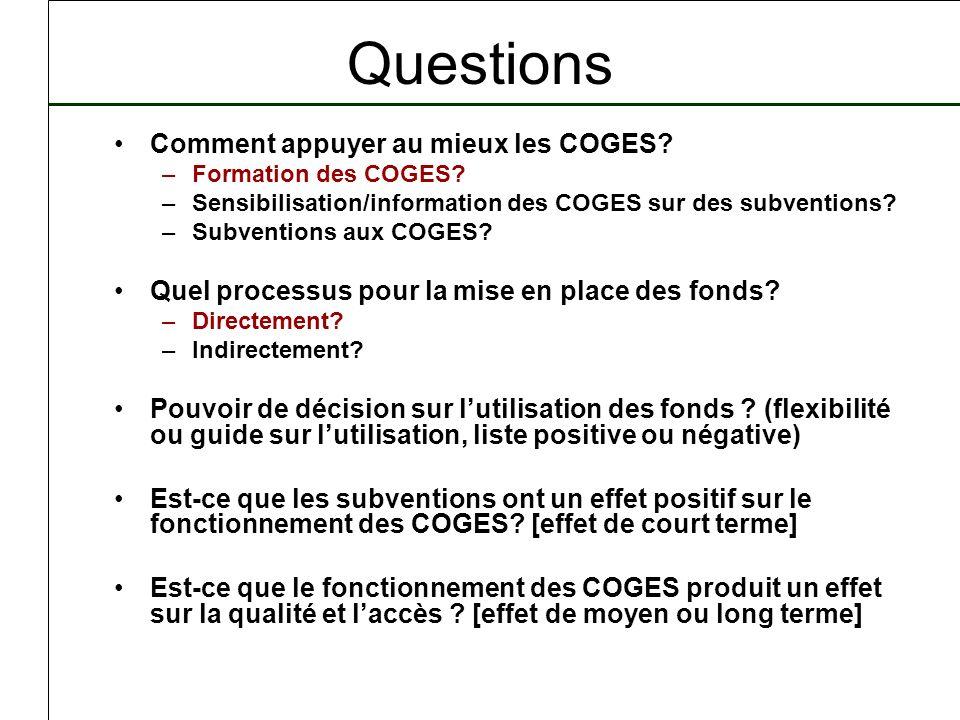 Questions Comment appuyer au mieux les COGES? –Formation des COGES? –Sensibilisation/information des COGES sur des subventions? –Subventions aux COGES