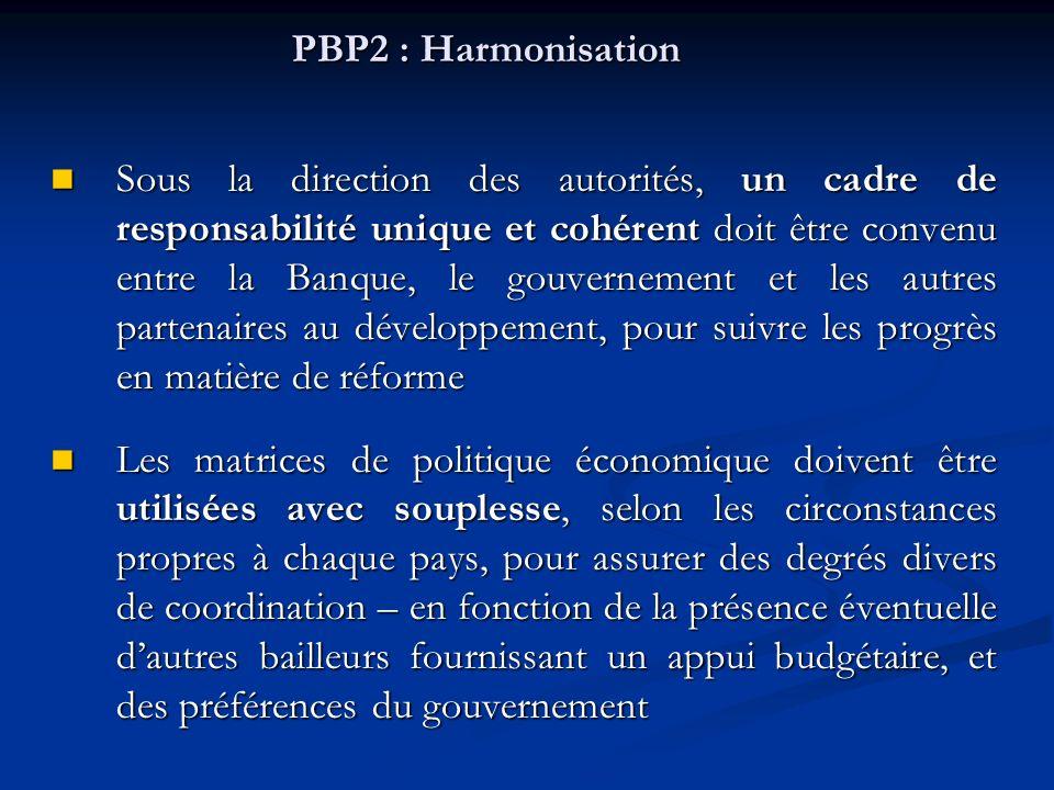 PBP2 : Harmonisation Sous la direction des autorités, un cadre de responsabilité unique et cohérent doit être convenu entre la Banque, le gouvernement et les autres partenaires au développement, pour suivre les progrès en matière de réforme Sous la direction des autorités, un cadre de responsabilité unique et cohérent doit être convenu entre la Banque, le gouvernement et les autres partenaires au développement, pour suivre les progrès en matière de réforme Les matrices de politique économique doivent être utilisées avec souplesse, selon les circonstances propres à chaque pays, pour assurer des degrés divers de coordination – en fonction de la présence éventuelle dautres bailleurs fournissant un appui budgétaire, et des préférences du gouvernement Les matrices de politique économique doivent être utilisées avec souplesse, selon les circonstances propres à chaque pays, pour assurer des degrés divers de coordination – en fonction de la présence éventuelle dautres bailleurs fournissant un appui budgétaire, et des préférences du gouvernement