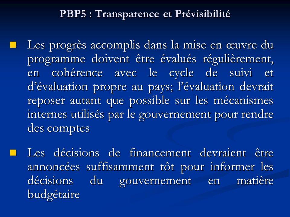 PBP5 : Transparence et Prévisibilité Les progrès accomplis dans la mise en œuvre du programme doivent être évalués régulièrement, en cohérence avec le cycle de suivi et dévaluation propre au pays; lévaluation devrait reposer autant que possible sur les mécanismes internes utilisés par le gouvernement pour rendre des comptes Les progrès accomplis dans la mise en œuvre du programme doivent être évalués régulièrement, en cohérence avec le cycle de suivi et dévaluation propre au pays; lévaluation devrait reposer autant que possible sur les mécanismes internes utilisés par le gouvernement pour rendre des comptes Les décisions de financement devraient être annoncées suffisamment tôt pour informer les décisions du gouvernement en matière budgétaire Les décisions de financement devraient être annoncées suffisamment tôt pour informer les décisions du gouvernement en matière budgétaire