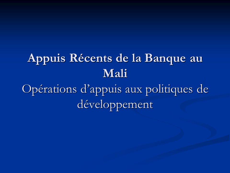Appuis Récents de la Banque au Mali Opérations dappuis aux politiques de développement