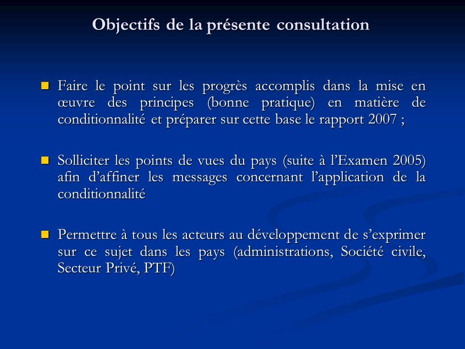 Objectifs de la présente consultation Faire le point sur les progrès accomplis dans la mise en œuvre des principes (bonne pratique) en matière de conditionnalité et préparer sur cette base le rapport 2007 ; Faire le point sur les progrès accomplis dans la mise en œuvre des principes (bonne pratique) en matière de conditionnalité et préparer sur cette base le rapport 2007 ; Solliciter les points de vues du pays (suite à lExamen 2005) afin daffiner les messages concernant lapplication de la conditionnalité Solliciter les points de vues du pays (suite à lExamen 2005) afin daffiner les messages concernant lapplication de la conditionnalité Permettre à tous les acteurs au développement de sexprimer sur ce sujet dans les pays (administrations, Société civile, Secteur Privé, PTF) Permettre à tous les acteurs au développement de sexprimer sur ce sujet dans les pays (administrations, Société civile, Secteur Privé, PTF)