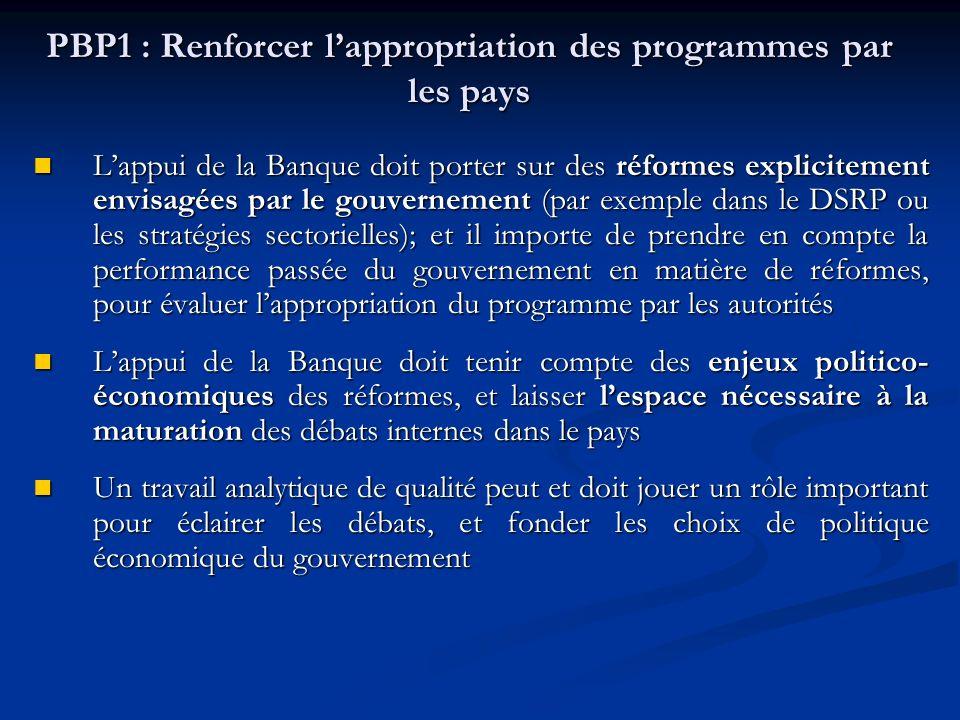 PBP1 : Renforcer lappropriation des programmes par les pays Lappui de la Banque doit porter sur des réformes explicitement envisagées par le gouvernement (par exemple dans le DSRP ou les stratégies sectorielles); et il importe de prendre en compte la performance passée du gouvernement en matière de réformes, pour évaluer lappropriation du programme par les autorités Lappui de la Banque doit porter sur des réformes explicitement envisagées par le gouvernement (par exemple dans le DSRP ou les stratégies sectorielles); et il importe de prendre en compte la performance passée du gouvernement en matière de réformes, pour évaluer lappropriation du programme par les autorités Lappui de la Banque doit tenir compte des enjeux politico- économiques des réformes, et laisser lespace nécessaire à la maturation des débats internes dans le pays Lappui de la Banque doit tenir compte des enjeux politico- économiques des réformes, et laisser lespace nécessaire à la maturation des débats internes dans le pays Un travail analytique de qualité peut et doit jouer un rôle important pour éclairer les débats, et fonder les choix de politique économique du gouvernement Un travail analytique de qualité peut et doit jouer un rôle important pour éclairer les débats, et fonder les choix de politique économique du gouvernement