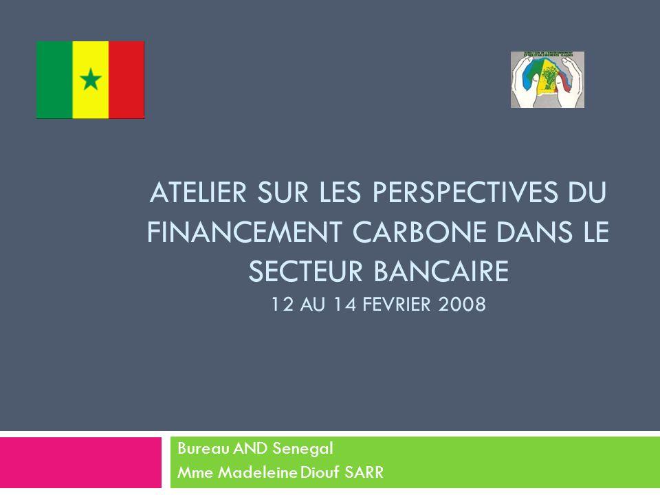 ATELIER SUR LES PERSPECTIVES DU FINANCEMENT CARBONE DANS LE SECTEUR BANCAIRE 12 AU 14 FEVRIER 2008 Bureau AND Senegal Mme Madeleine Diouf SARR
