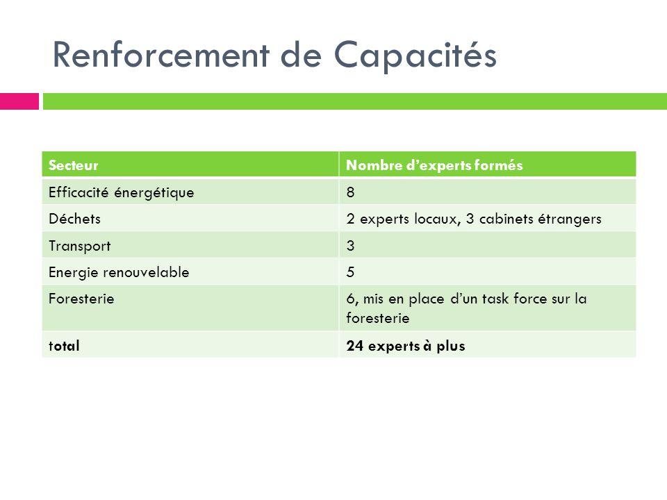 Renforcement de Capacités SecteurNombre dexperts formés Efficacité énergétique8 Déchets2 experts locaux, 3 cabinets étrangers Transport3 Energie renou