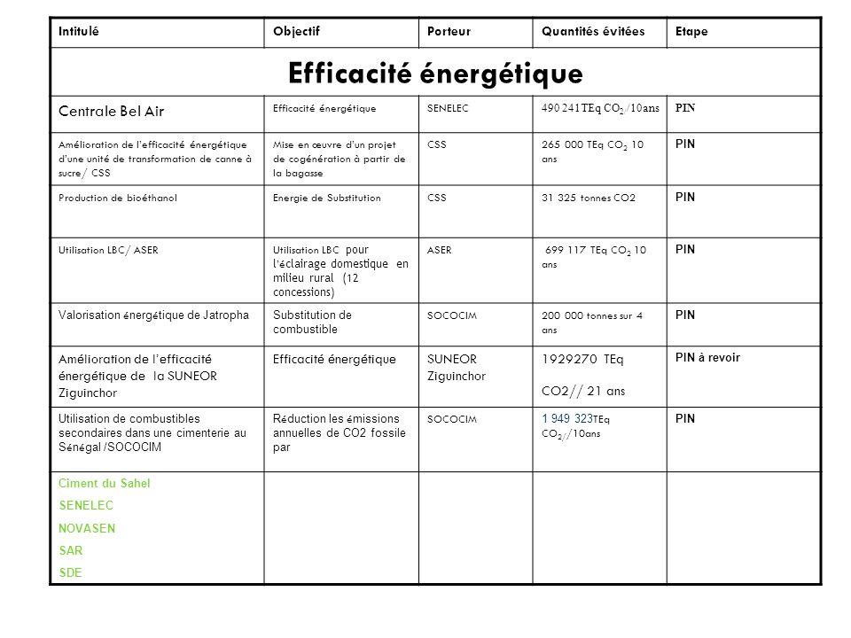 IntituléObjectifPorteurQuantités évitéesEtape Energies Renouvelables CARRERAEnergie solaire Centrale photovoltaïque de 7,3 MWc (Réduction de GES) Conseil Régional de Ziguinchor 229.425 TEq CO2//21ans PDD Barrage FélouhydoélectricitéProjet sous régional160 000 tonnes/CO2 annuel PDD Valorisation du typhaBiomasse énergiePeragod 447 020.Tonnes- Eq CO2 sur 10 ans PIN Centrale éolien de 15 MW Projet éolien à Saint Louis C3E/Cegelec93823 tonnes CO2 sur 4 ans PIN Déchets Décharge de MbeubeussProjet de valorisation énergétique du biogaz Carbon Réduction784222 tonnes sur 5 ans PDD Traitement des eaux dabattoirsProjet de réduction du CH4SOGASPDD TRANSPORT Transport maritime sur laxe Bargny/Dakar Réduction des émissions via le transport commun COSEC142 000 tonnesPDD Renouvellement des cars rapidesRéduction des émissions par lacquisition de nouveaux cars CETUD226 036.2 tonnes sur 5 ans PIN