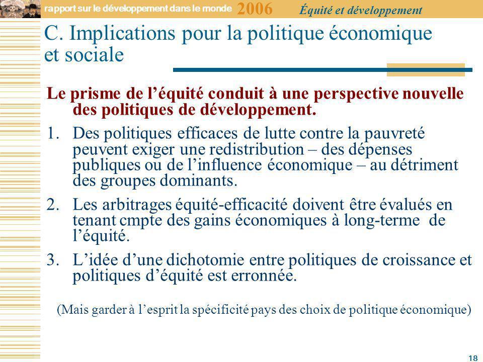 2006 rapport sur le développement dans le monde Équité et développement 18 C.