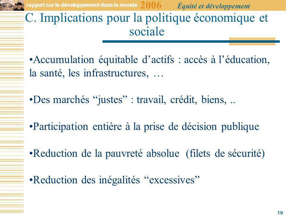 2006 rapport sur le développement dans le monde Équité et développement 19 C.
