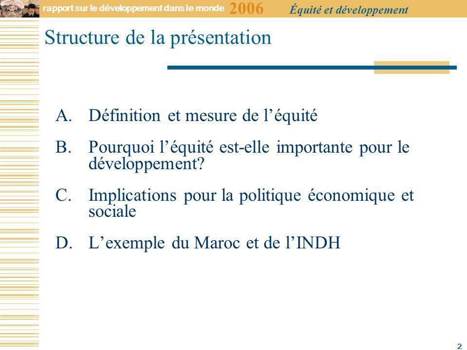 2006 rapport sur le développement dans le monde Équité et développement 2 Structure de la présentation A.Définition et mesure de léquité B.Pourquoi léquité est-elle importante pour le développement.