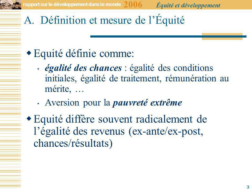2006 rapport sur le développement dans le monde Équité et développement 3 A.
