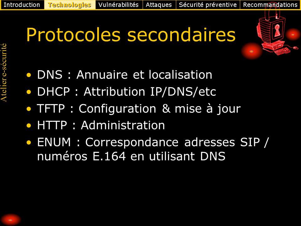 Atelier e-sécurité Protocoles secondaires DNS : Annuaire et localisation DHCP : Attribution IP/DNS/etc TFTP : Configuration & mise à jour HTTP : Admin
