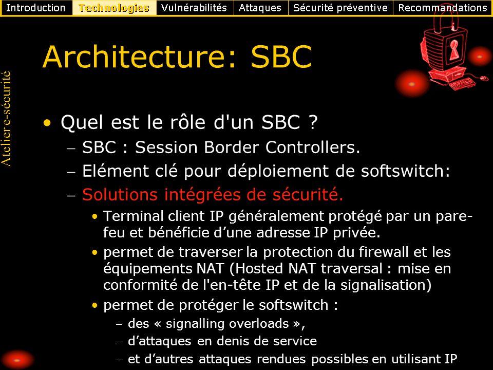 Atelier e-sécurité Architecture: SBC Quel est le rôle d'un SBC ? SBC : Session Border Controllers. Elément clé pour déploiement de softswitch: Solutio