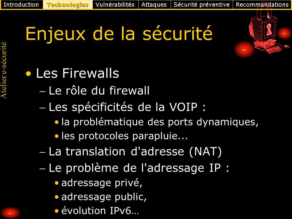 Atelier e-sécurité Enjeux de la sécurité Les Firewalls Le rôle du firewall Les spécificités de la VOIP : la problématique des ports dynamiques, les pr