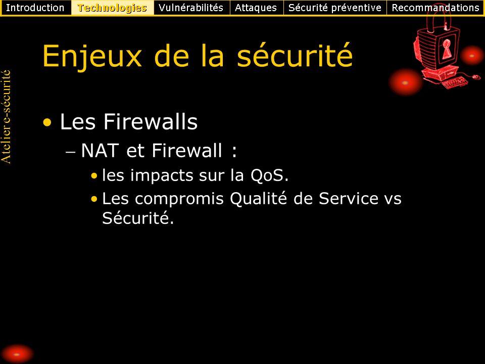 Atelier e-sécurité Enjeux de la sécurité Les Firewalls NAT et Firewall : les impacts sur la QoS. Les compromis Qualité de Service vs Sécurité.