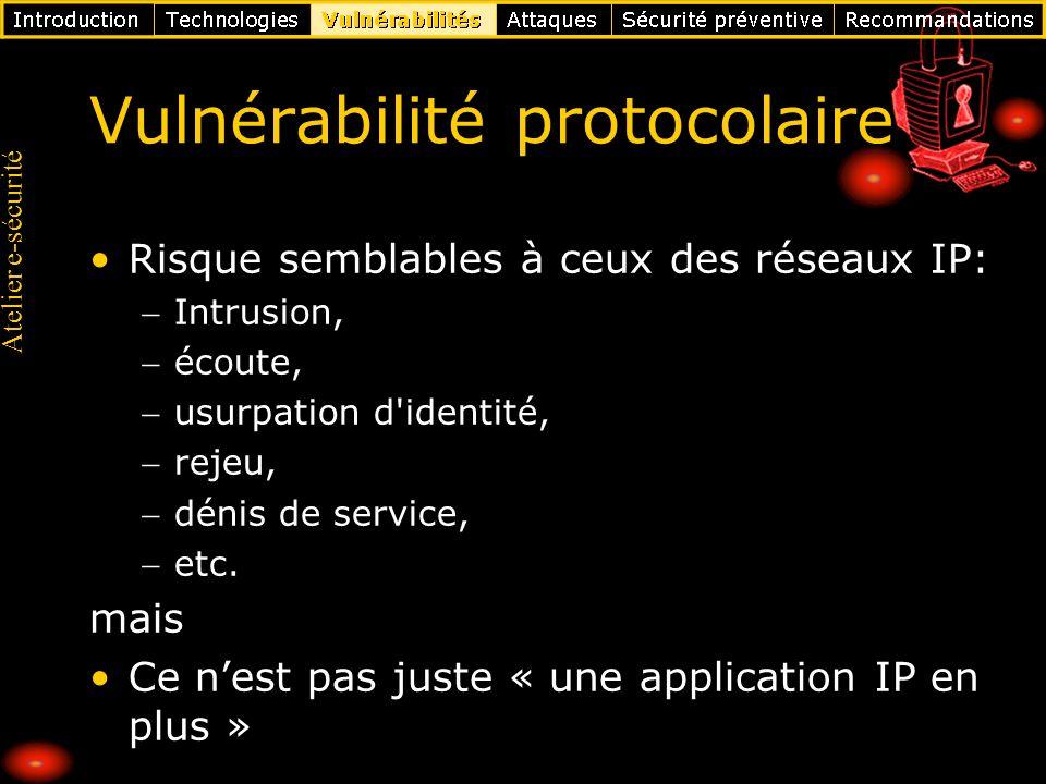Atelier e-sécurité Vulnérabilité protocolaire Risque semblables à ceux des réseaux IP: Intrusion, écoute, usurpation d'identité, rejeu, dénis de servi