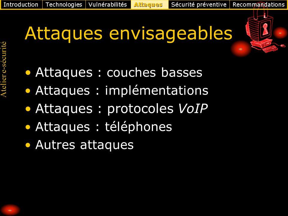 Atelier e-sécurité Attaques envisageables Attaques : couches basses Attaques : implémentations Attaques : protocoles VoIP Attaques : téléphones Autres