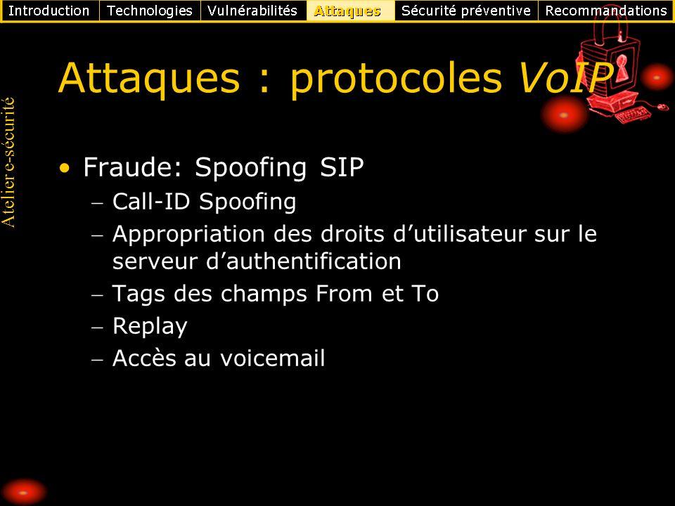 Atelier e-sécurité Attaques : protocoles VoIP Fraude: Spoofing SIP Call-ID Spoofing Appropriation des droits dutilisateur sur le serveur dauthentifica