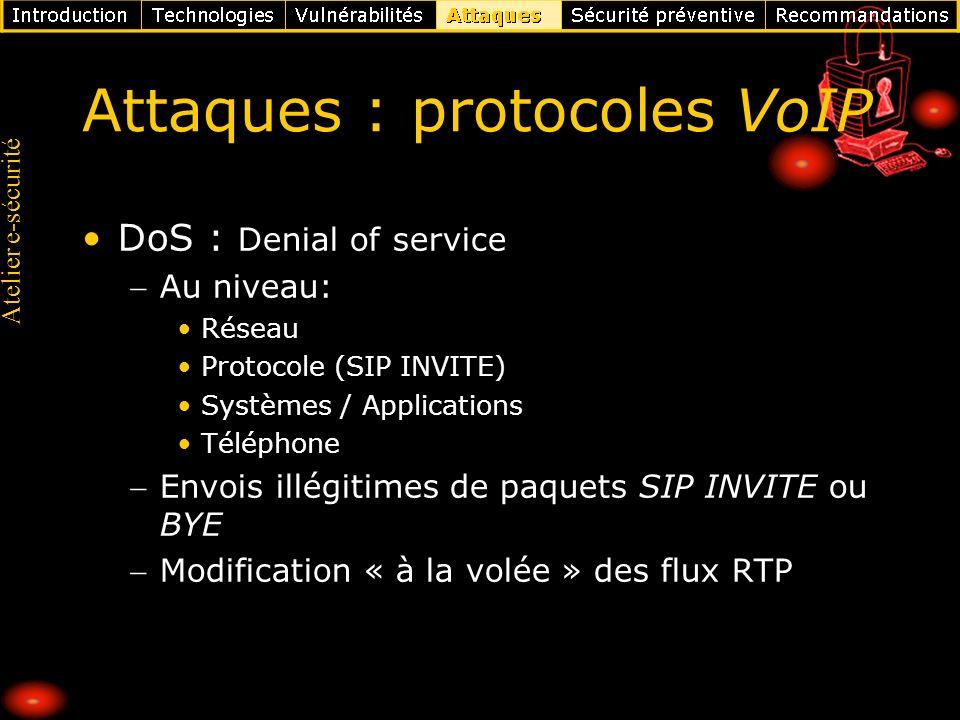 Atelier e-sécurité Attaques : protocoles VoIP DoS : Denial of service Au niveau: Réseau Protocole (SIP INVITE) Systèmes / Applications Téléphone Envoi
