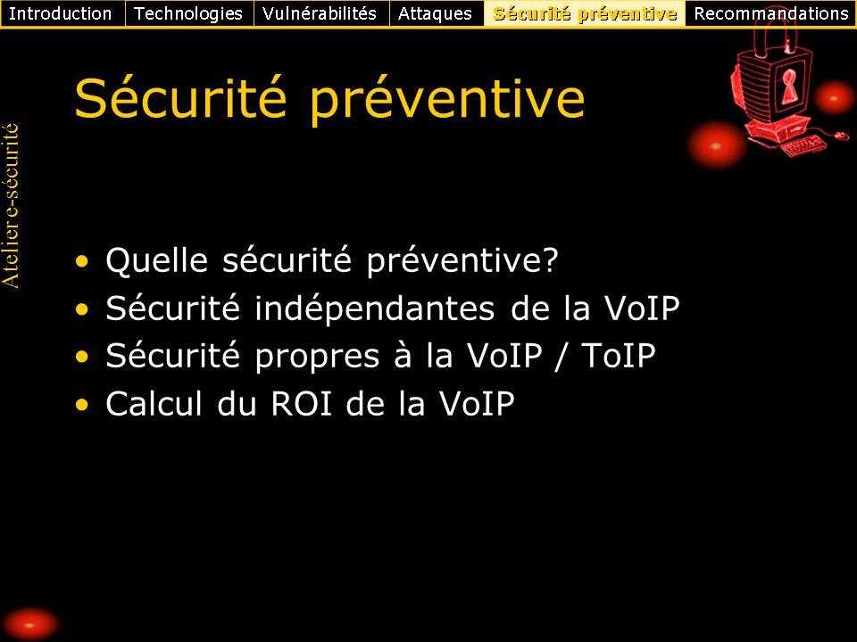 Atelier e-sécurité Sécurité préventive Quelle sécurité préventive? Sécurité indépendantes de la VoIP Sécurité propres à la VoIP / ToIP Calcul du ROI d
