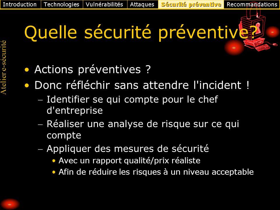 Atelier e-sécurité Quelle sécurité préventive? Actions préventives ? Donc réfléchir sans attendre l'incident ! Identifier se qui compte pour le chef d