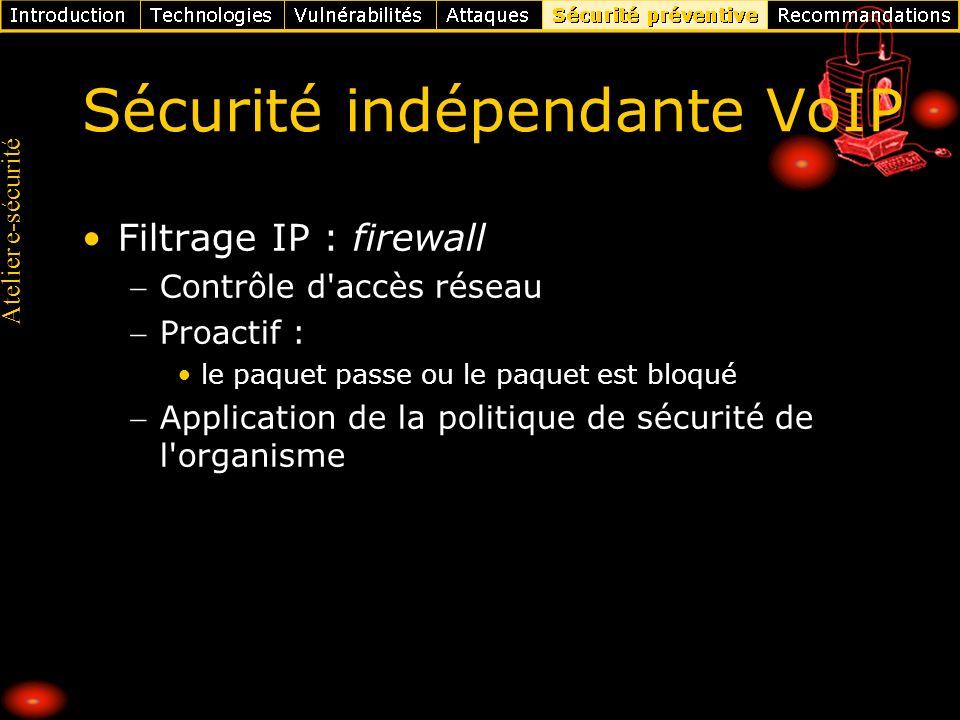 Atelier e-sécurité Sécurité indépendante VoIP Filtrage IP : firewall Contrôle d'accès réseau Proactif : le paquet passe ou le paquet est bloqué Applic