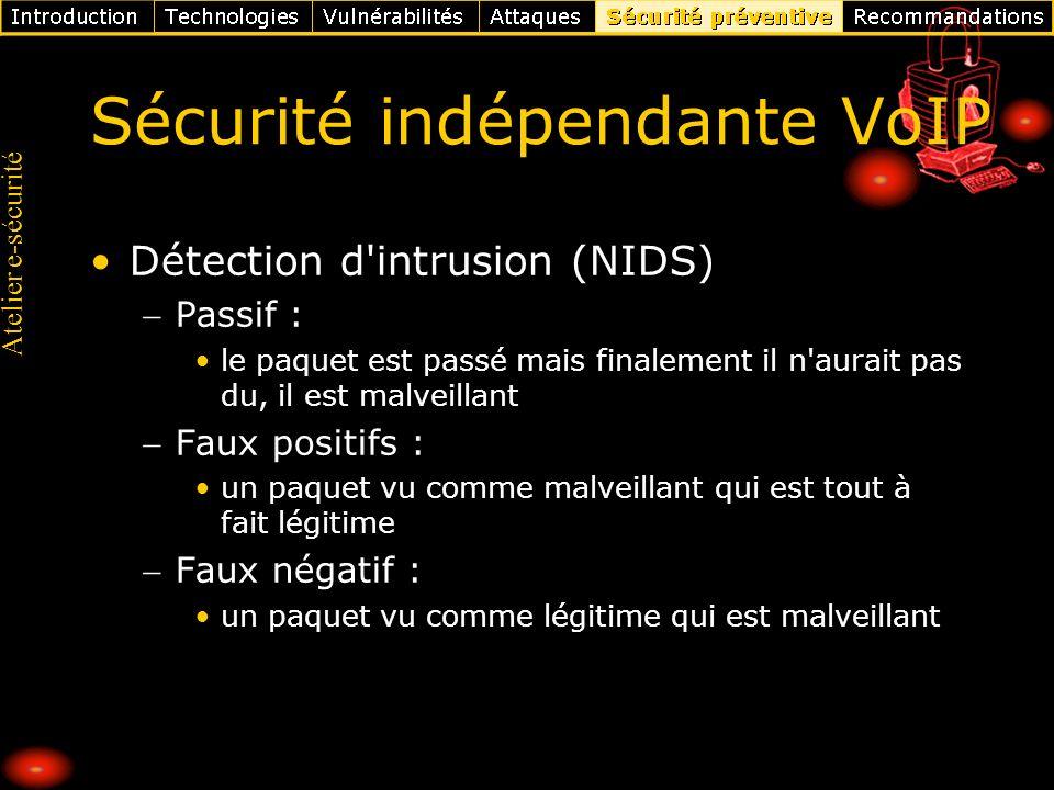 Atelier e-sécurité Sécurité indépendante VoIP Détection d'intrusion (NIDS) Passif : le paquet est passé mais finalement il n'aurait pas du, il est mal