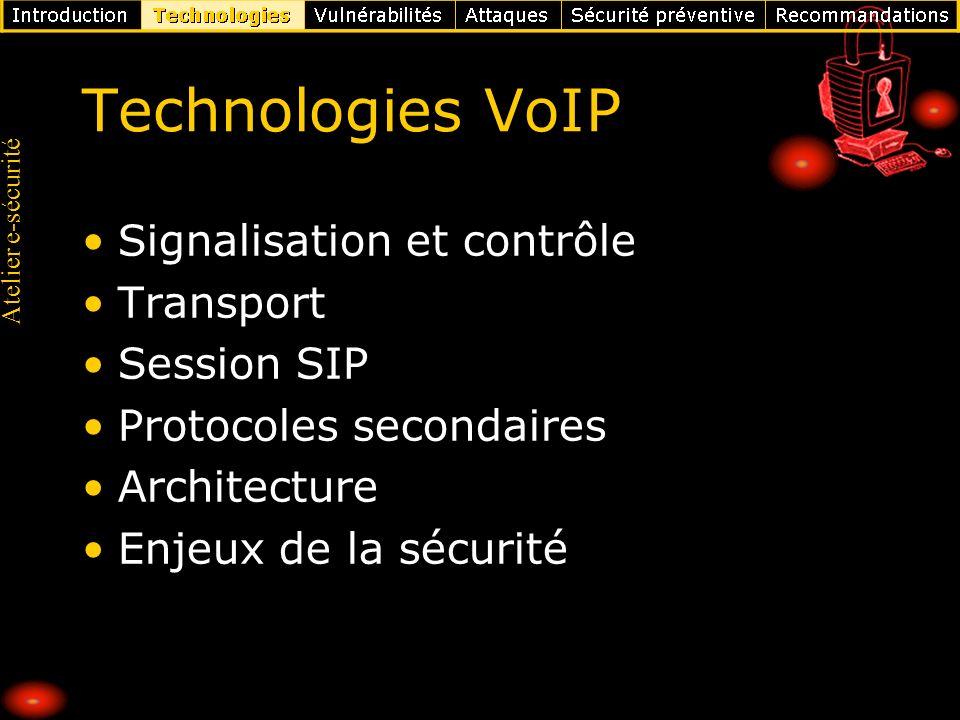 Atelier e-sécurité Autres Skinny Client Control Protocol (Cisco) : Risques : Ecoute, Usurpation d identité, Insertion et rejeu, Déni de service Multimedia Gateway Control Protocol (MGCP) Risques: Identiques aux autres en entreprise (pas d expérience d audit sécurité) Dépendants de la sécurité du boitier ADSL Moins de risques de surfacturation et de déni de service sur le serveur central GSM sur IP : nano BTS Risques : Surfacturation, Ecoute des communications Usurpation d identité, Insertion et rejeu Déni de service GSM sur IP : UMA : Unlicensed Mobile Access Risques : Exposition du réseau opérateur sur Internet Déni de service