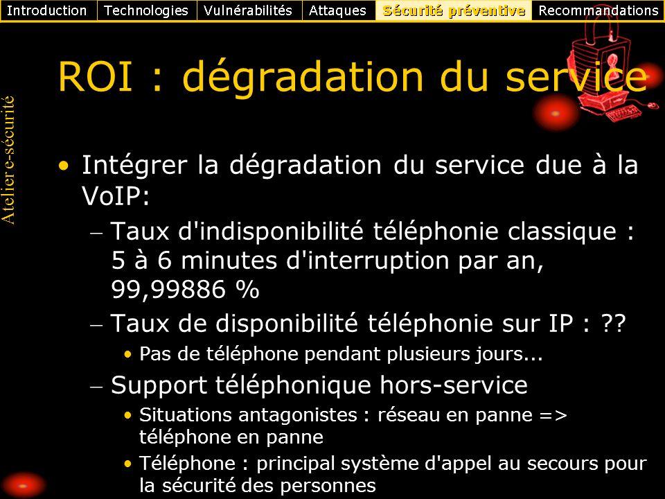 Atelier e-sécurité ROI : dégradation du service Intégrer la dégradation du service due à la VoIP: Taux d'indisponibilité téléphonie classique : 5 à 6