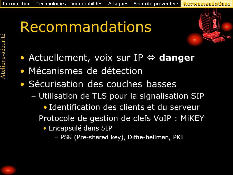 Atelier e-sécurité Recommandations Actuellement, voix sur IP danger Mécanismes de détection Sécurisation des couches basses Utilisation de TLS pour la