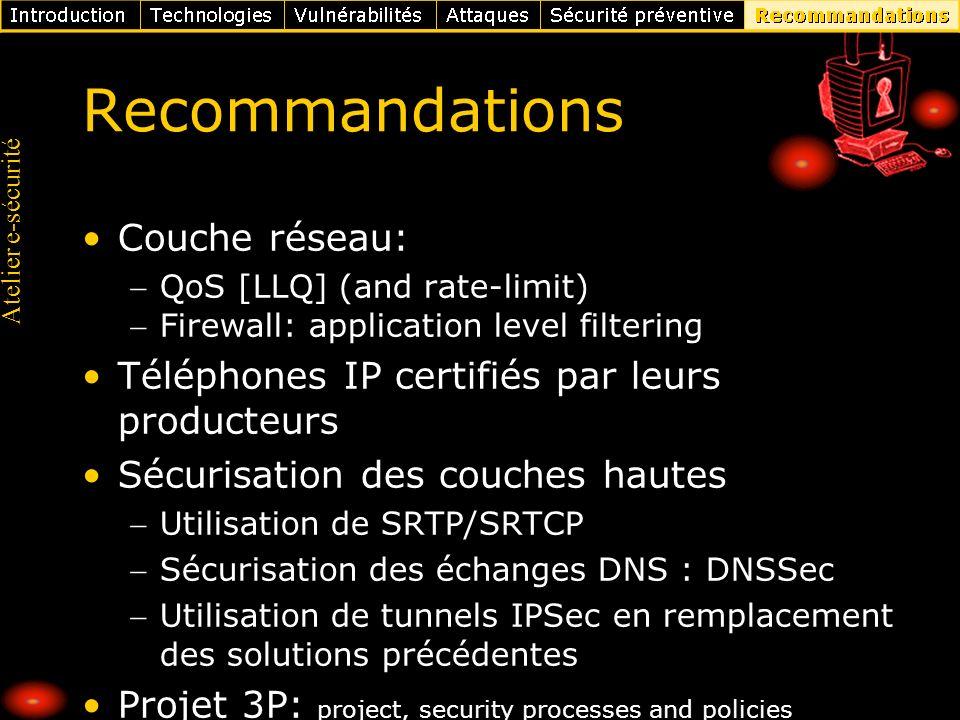 Atelier e-sécurité Recommandations Couche réseau: QoS [LLQ] (and rate-limit) Firewall: application level filtering Téléphones IP certifiés par leurs p