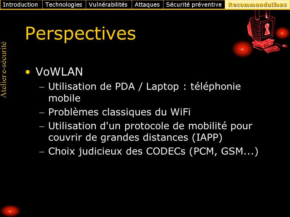 Atelier e-sécurité Perspectives VoWLAN Utilisation de PDA / Laptop : téléphonie mobile Problèmes classiques du WiFi Utilisation d'un protocole de mobi
