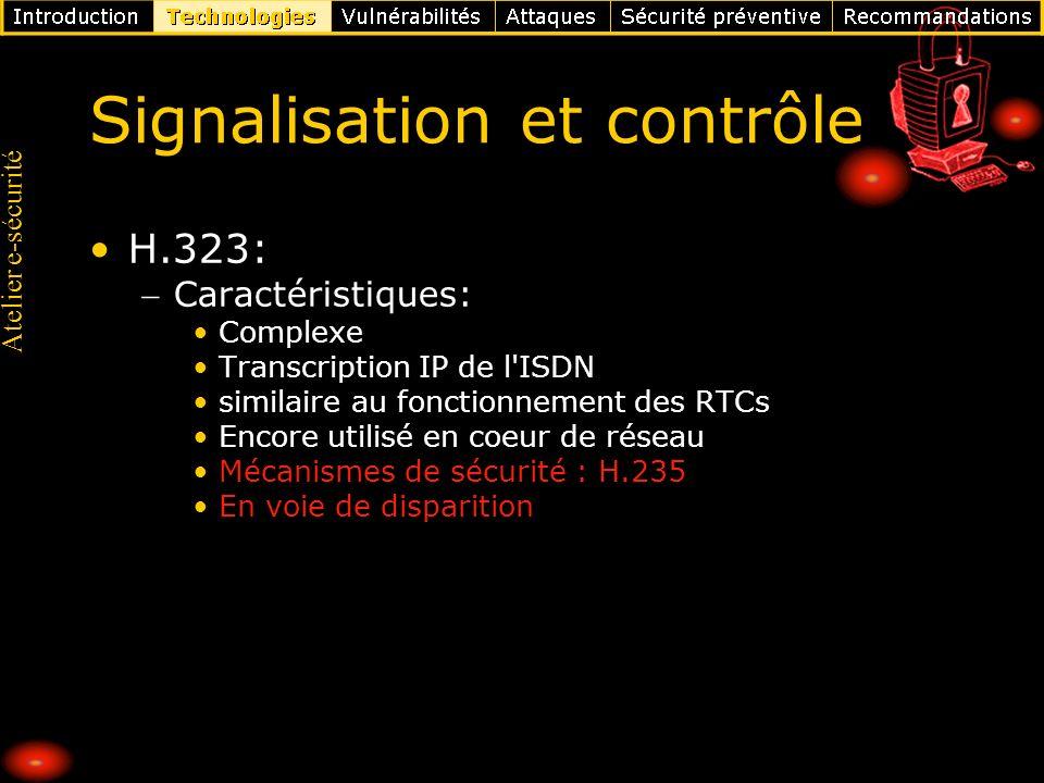 Atelier e-sécurité Signalisation et contrôle SIP (Session Initiation Protocol): Normalisé par lIETF (RFC 3261), ressemble à HTTP Protocole se transformant en architecture Adresses simples : sip:user@domaine.com Extensions propriétaires Gestion de sessions entre participants: End-to-end (entre IP PBX) Inter-AS MPLS VPNs Confiance transitive (Transitive trust) Données transportées de toute nature : voix, images, messagerie instantanée, échanges de fichiers, etc