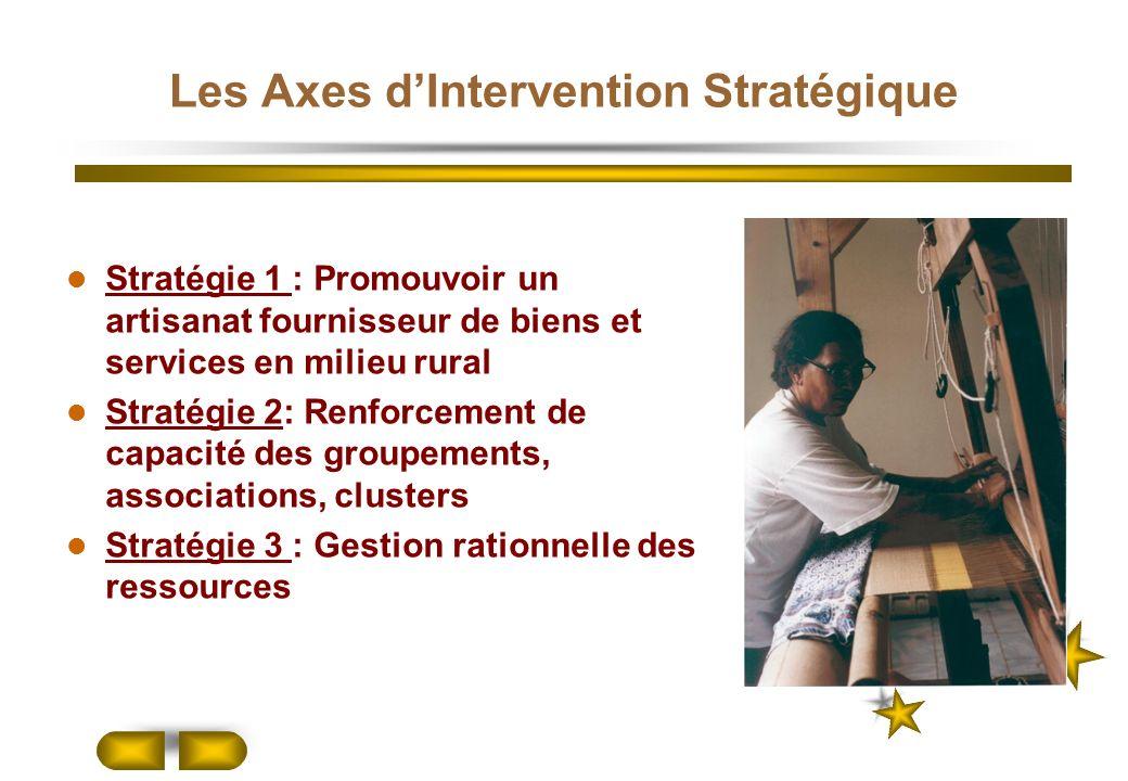 Les Axes dIntervention Stratégique Stratégie 1 : Promouvoir un artisanat fournisseur de biens et services en milieu rural Stratégie 2: Renforcement de