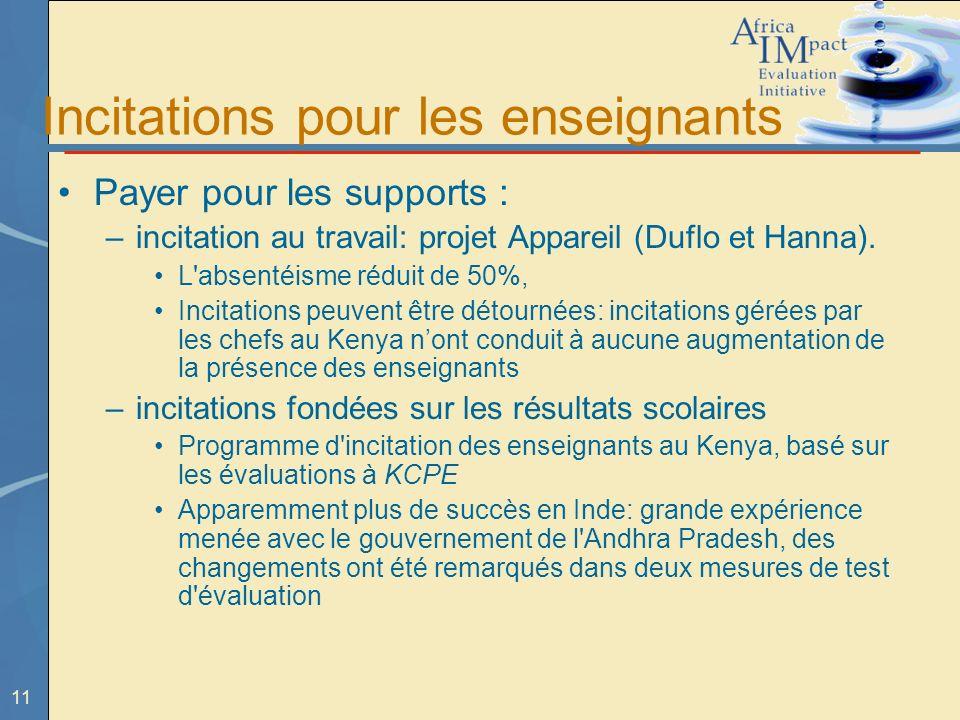 11 Incitations pour les enseignants Payer pour les supports : –incitation au travail: projet Appareil (Duflo et Hanna).