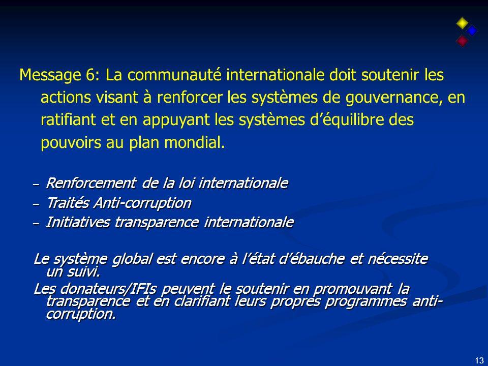 13 Message 6: La communauté internationale doit soutenir les actions visant à renforcer les systèmes de gouvernance, en ratifiant et en appuyant les systèmes déquilibre des pouvoirs au plan mondial.